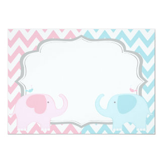 Pink and Blue Elephants Chevron Gender Reveal Card
