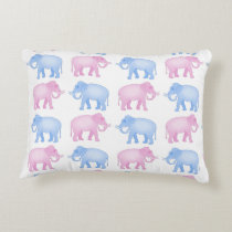 Pink and Blue Elephants Gender Reveal Accent Pillow