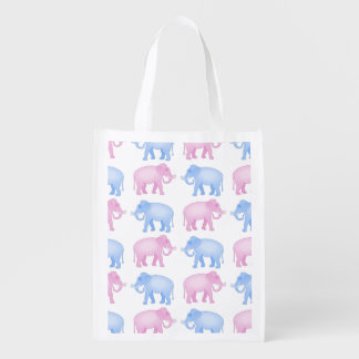 Pink and Blue Elephants Gender Reveal Grocery Bag