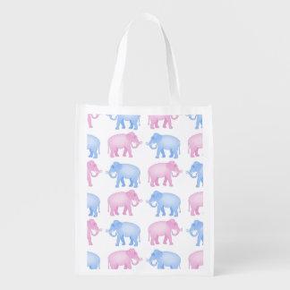 Pink and Blue Elephants Gender Reveal Grocery Bag