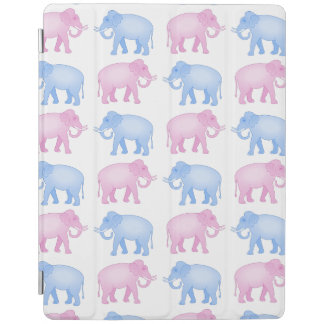 Pink and Blue Elephants Gender Reveal iPad Cover