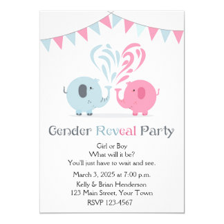 Pink and Blue Elephants Gender Reveal Invitation