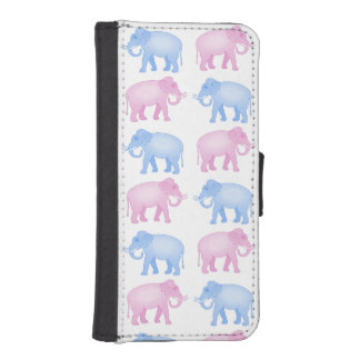 Pink and Blue Elephants Gender Reveal iPhone SE/5/5s Wallet Case