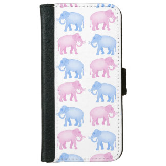 Pink and Blue Elephants Gender Reveal Wallet Phone Case For iPhone 6/6s