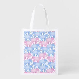 Pink and Blue Elephants Grocery Bags