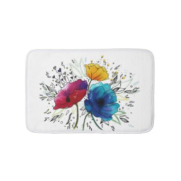 """Beach Themed Pink and Blue""""Fairy Poppies"""" Watercolor Design Bathroom Mat"""