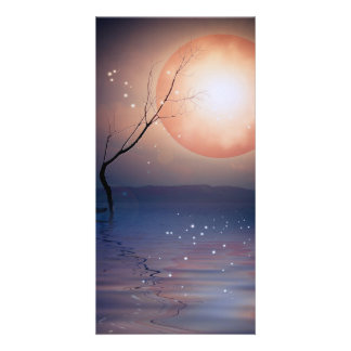 Pink and Blue Fantasy Sparkling Moon over water Card