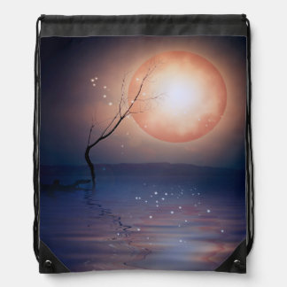 Pink and Blue Fantasy Sparkling Moon over water Drawstring Bag
