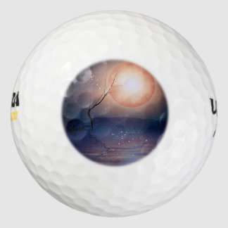 Pink and Blue Fantasy Sparkling Moon over water Pack Of Golf Balls