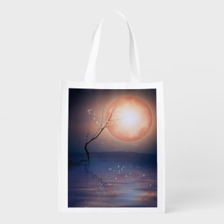 Pink and Blue Fantasy Sparkling Moon over water Grocery Bag
