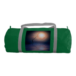 Pink and Blue Fantasy Sparkling Moon over water Gym Bag
