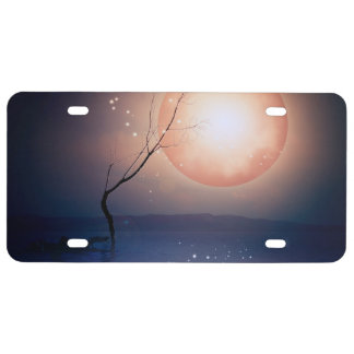 Pink and Blue Fantasy Sparkling Moon over water License Plate