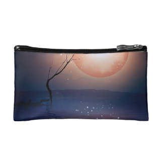 Pink and Blue Fantasy Sparkling Moon over water Makeup Bag