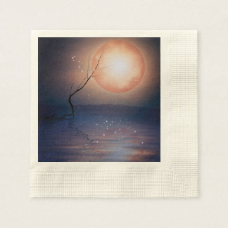 Pink and Blue Fantasy Sparkling Moon over water Paper Napkin