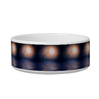 Pink and Blue Fantasy Sparkling Moon over water Cat Food Bowl