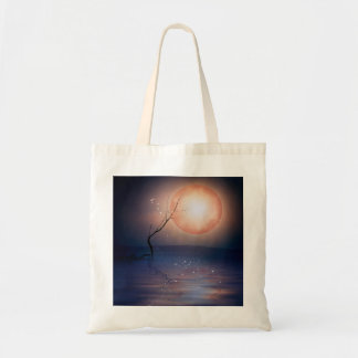 Pink and Blue Fantasy Sparkling Moon over water Tote Bag