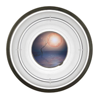 Pink and Blue Fantasy Sparkling Moon over water Pet Bowl