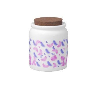 pink and blue feather pattern candy jar