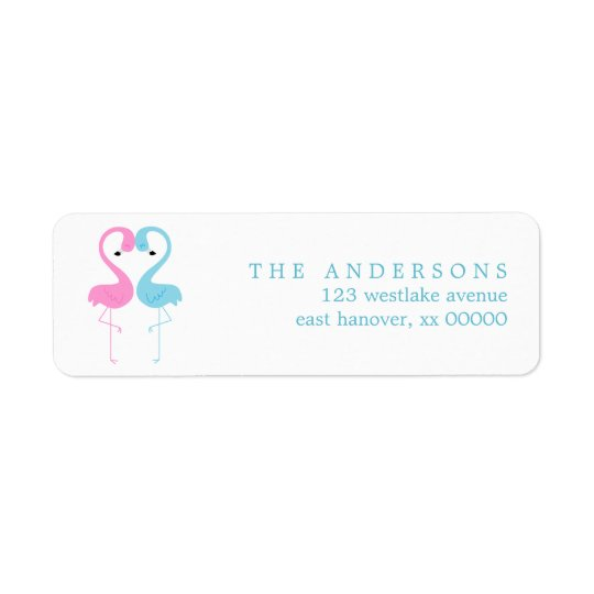 Pink and Blue Flamingos Label