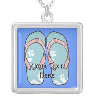Pink and Blue Flip-Flops Necklace