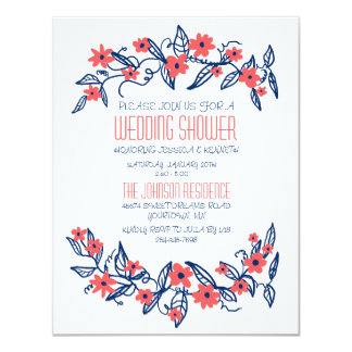 Pink and Blue Floral Banners Wedding Shower Card