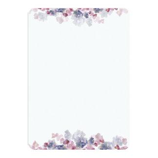 Pink and Blue Floral Border Fan Program Paper Card