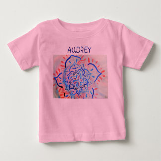 Pink and blue floral watercolor mandala infant t-shirt
