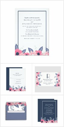 PInk and Blue Floral Wedding Invitations