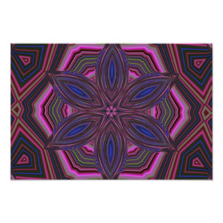 Pink and Blue Flower Kaleidoscope Mandala Photo Art