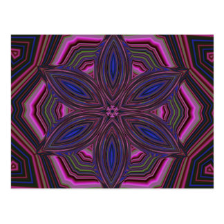 Pink and Blue Flower Kaleidoscope Mandala Postcard