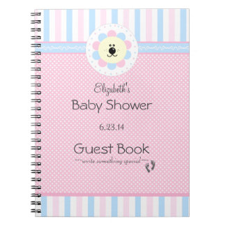 Pink and Blue Flower Lion Baby Shower Guest Book Spiral Note Books