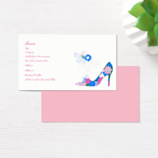Pink and Blue Flower Shoe Business Card