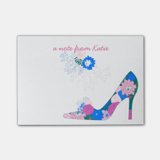 Pink and Blue Flower Shoe Post-it Notes