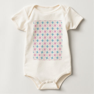 Pink and blue flower tessellation baby bodysuit