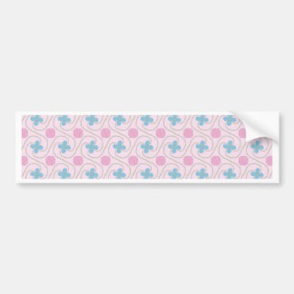 Pink and blue flower tessellation bumper sticker
