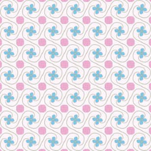 Pink And Blue Flower Tessellation Ceramic Ornament