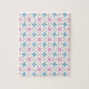 Pink And Blue Flower Tessellation Jigsaw Puzzle