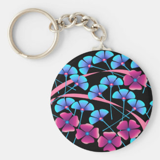 Pink and Blue Flowers Basic Round Button Keychain