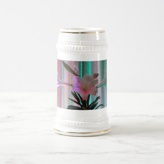 Pink And Blue Flowers Beer Stein