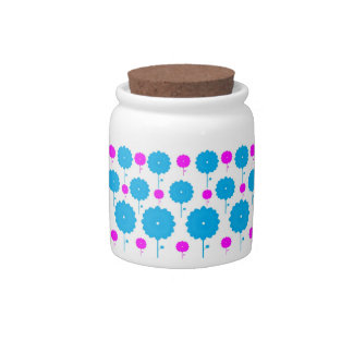Pink and Blue Flowers Candy Jar