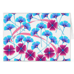 Pink and Blue Flowers Greeting Card