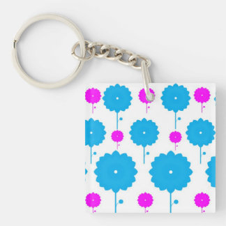 Pink and Blue Flowers Keychain