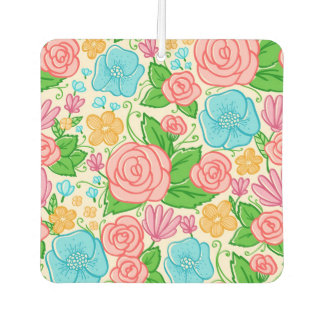 Pink And Blue Flowers Pattern Car Air Freshener