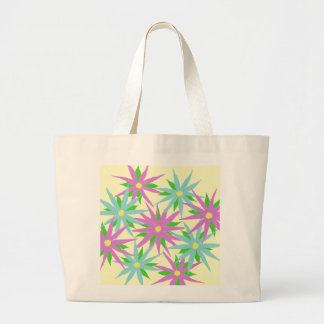 Pink and Blue Flowers Totebag Tote Bags