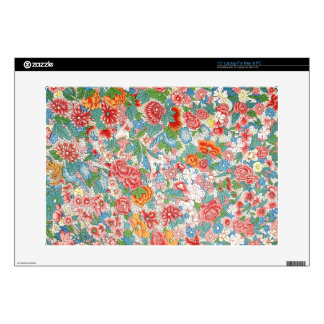 "Pink and Blue Flowers Wallpaper Decal For 15"" Laptop"