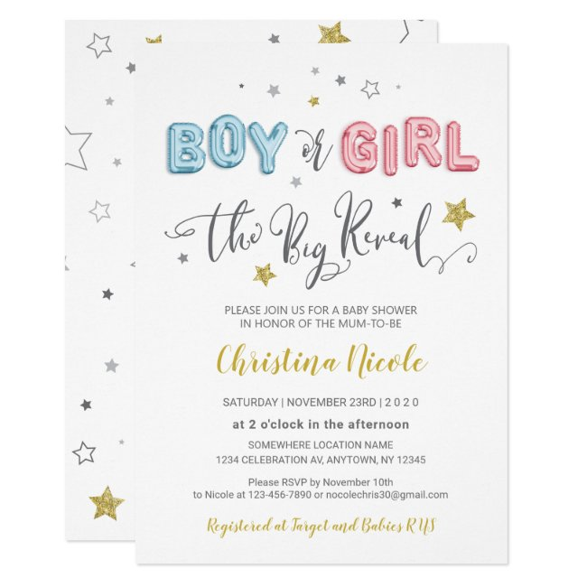 Pink and Blue Foil Balloons Baby Shower Invitation