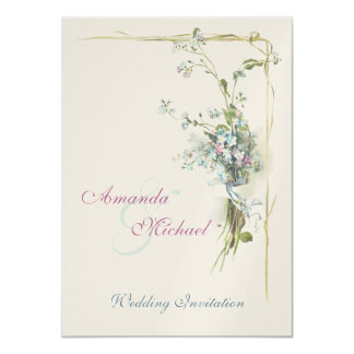 Pink and blue forget-me-nots wedding card