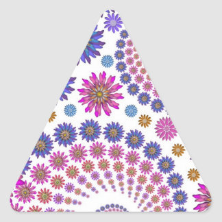 Pink and Blue Fractal Art Pattern Triangle Sticker