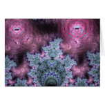 Pink And Blue Fractal Pattern Greeting Card