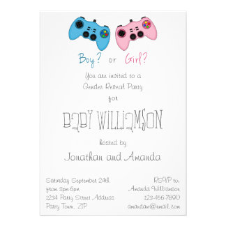 Pink and Blue Game Controllers Baby Gender Reveal Invitations